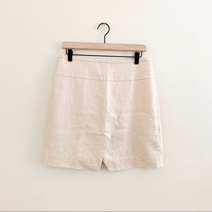 J. Crew Metallic Mini Faux Wrap Linen Skirt Size 6